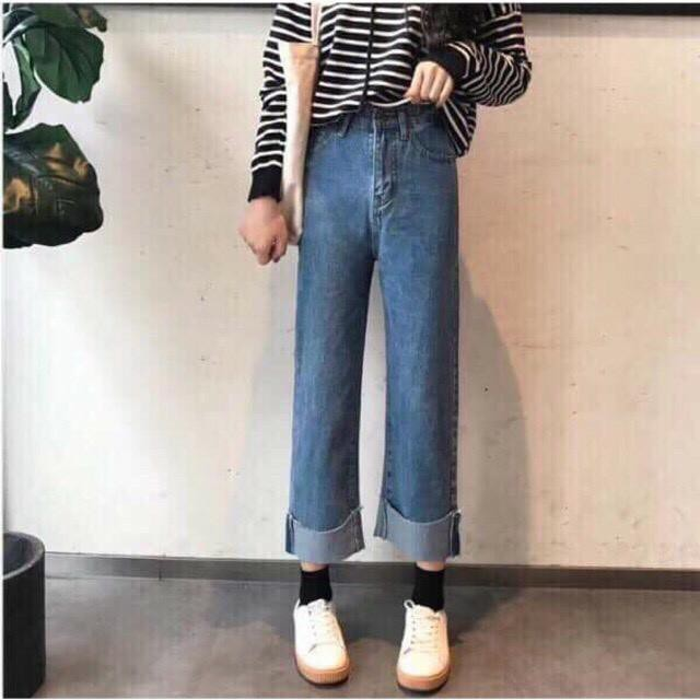 Quần Jeans Nữ Ống Rộng Lai Lật Siêu Đẹp-262