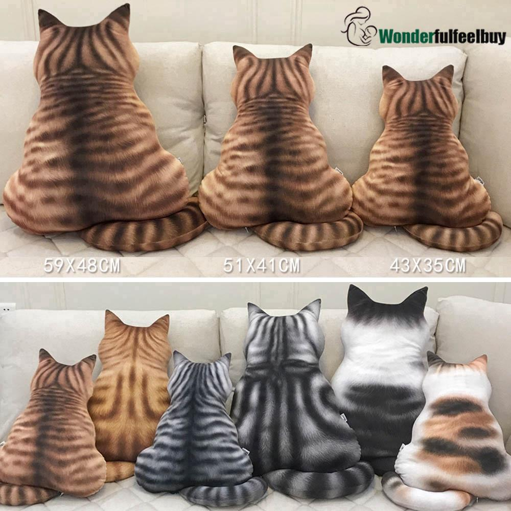 3D Printed Cute Cat Back Cushion Plush Soft Toy Gift Simulation Cat Pillow