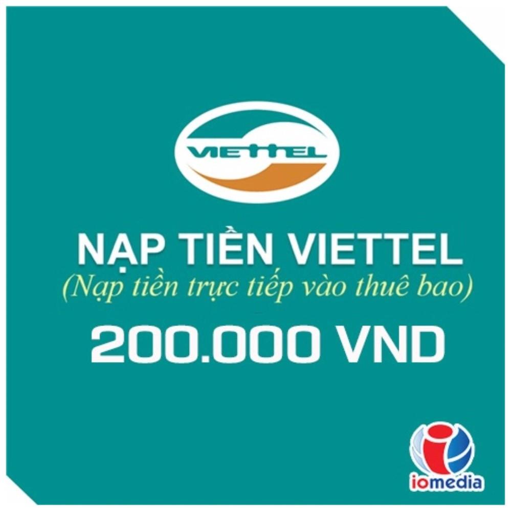 Nạp tiền điện thoại viettel 200.000