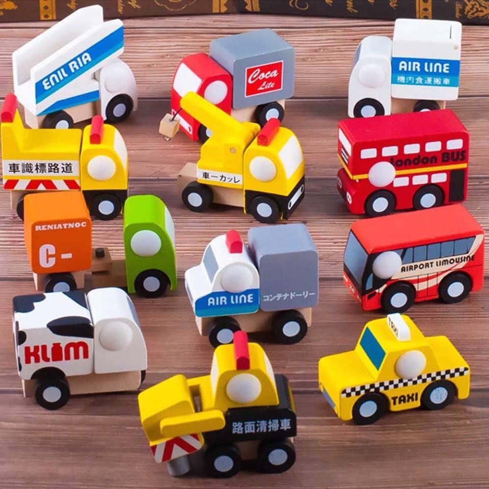Set đồ chơi 12 xe gỗ Nhật