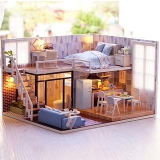 Mô hình nhà gỗ lắp ráp DIY – Kèm mica – L023 Blue Times