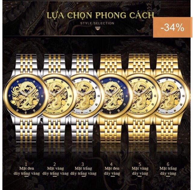 Đồng hồ nam cơ rồng Laogeshi & Tevise hàng chính hãng dây kim loại inox đặc