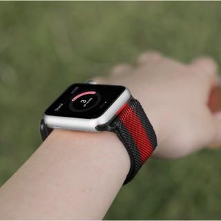 [Mã ELFLASH5 giảm 20K đơn 50K] [Tặng dán full màn] Dây đeo Apple Watch - Đen sọc đỏ