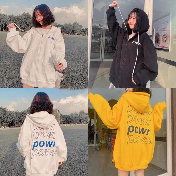 Áo khoác nỉ hoodie power unisex phom rộng nhiều màu chất đẹp