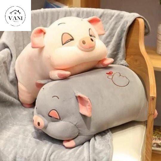 Gối con Heo 2in1 có kèm chăn mền loại TO 50cm - Gấu bông con Heo có kèm mền bên trong 2in1 tiện lợi siêu đáng yêu.