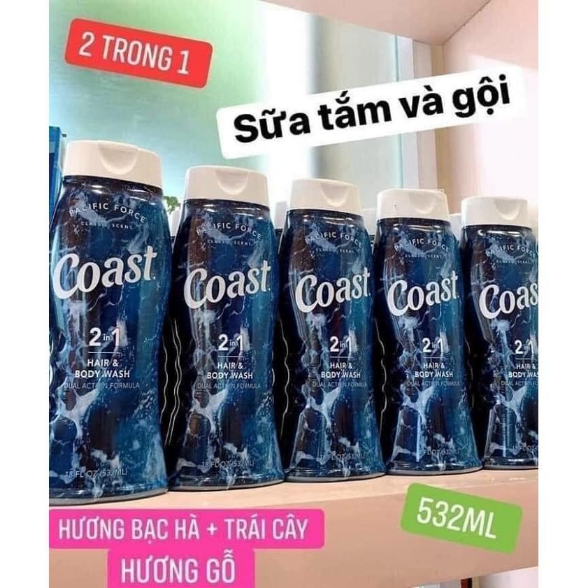 Sữa tắm gội Coast 2in1 đen 532ml (Mỹ) (mẫu mới nhất)