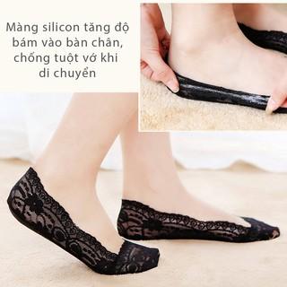 vớ ren chống trượt mang giày cao gót, giày búp bê (màu Kem, màu đen) - PK07 4