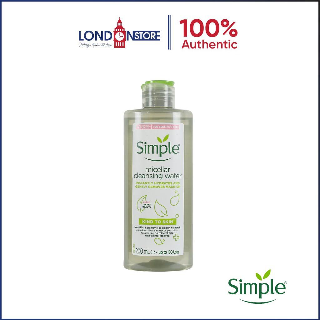 Nước tẩy trang cho da nhạy cảm Simple micellar cleansing water 200ml - Londonstore.vn