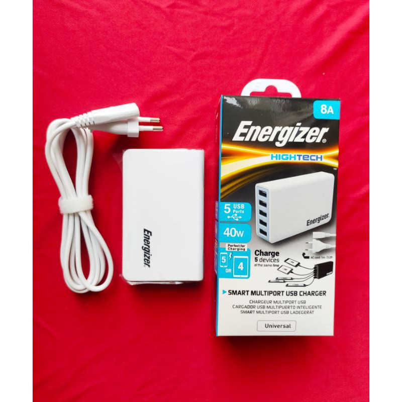 Củ sạc Energizer Station 5 cổng USB 5A-8V/40W EU màu trắng chính
