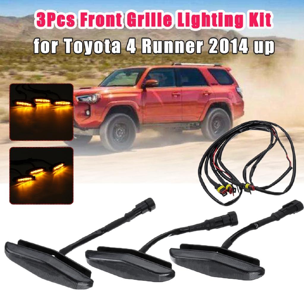 3Pcs Front Grille Lighting Light Kit For Toyota 4 Runner N280 17-2019 Decoration