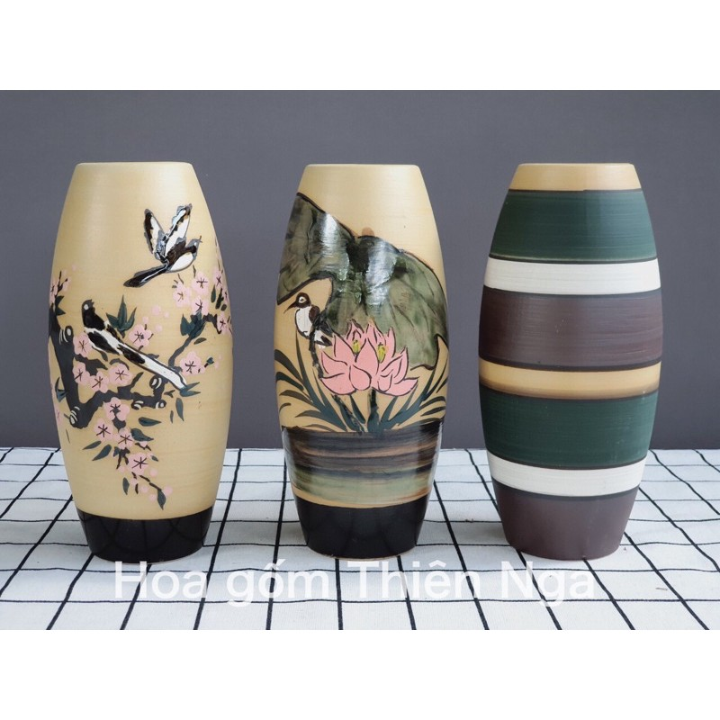Lọ hoa gốm sứ men khô Bát Tràng cao 22 cm
