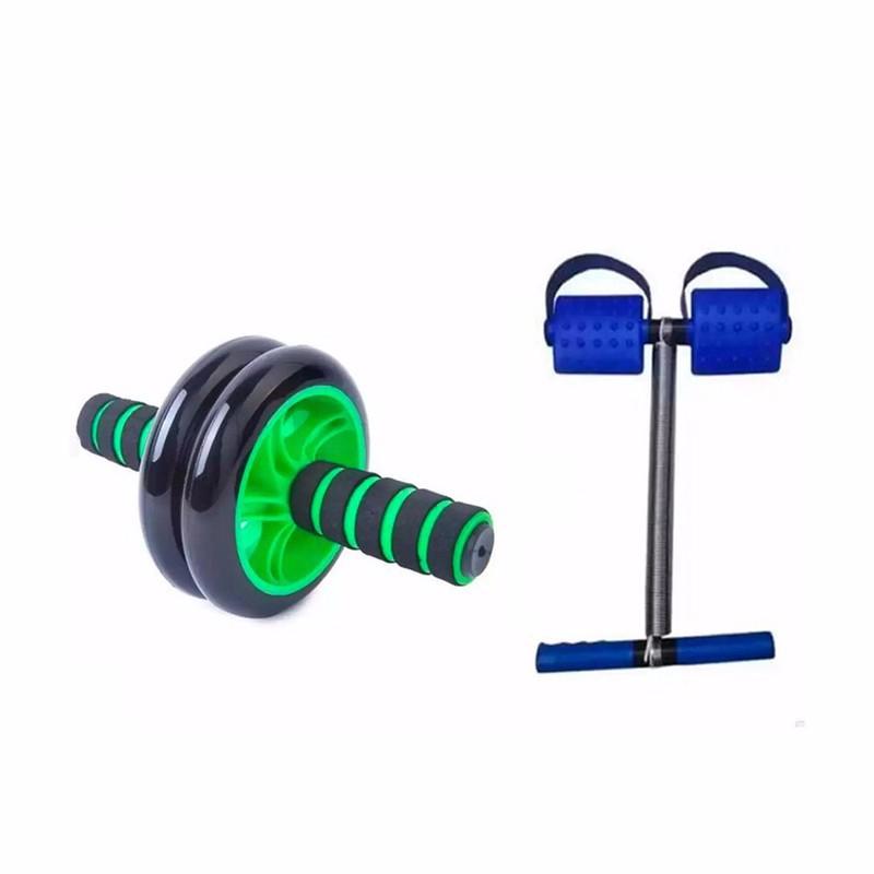 Bộ dụng cụ tập thể dục Con lăn tập cơ bụng (có hộp) + Dây kéo tập lưng bụng Tummy Trimmer