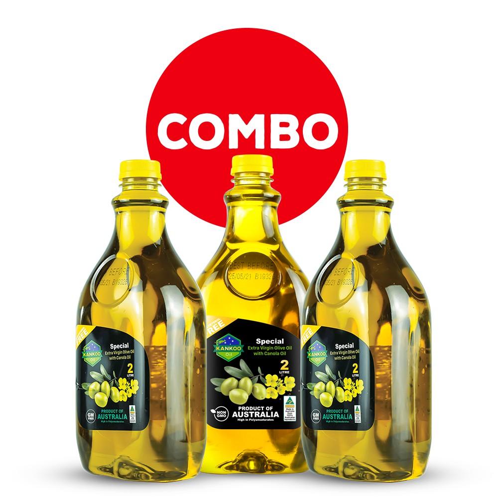 Combo 3 chai loại 2 lít dầu ăn Kankoo chuẩn Úc, dầu Oliu hạt cải chuyên chiên xào, trộn salad, nấu ăn, làm bánh cao cấp