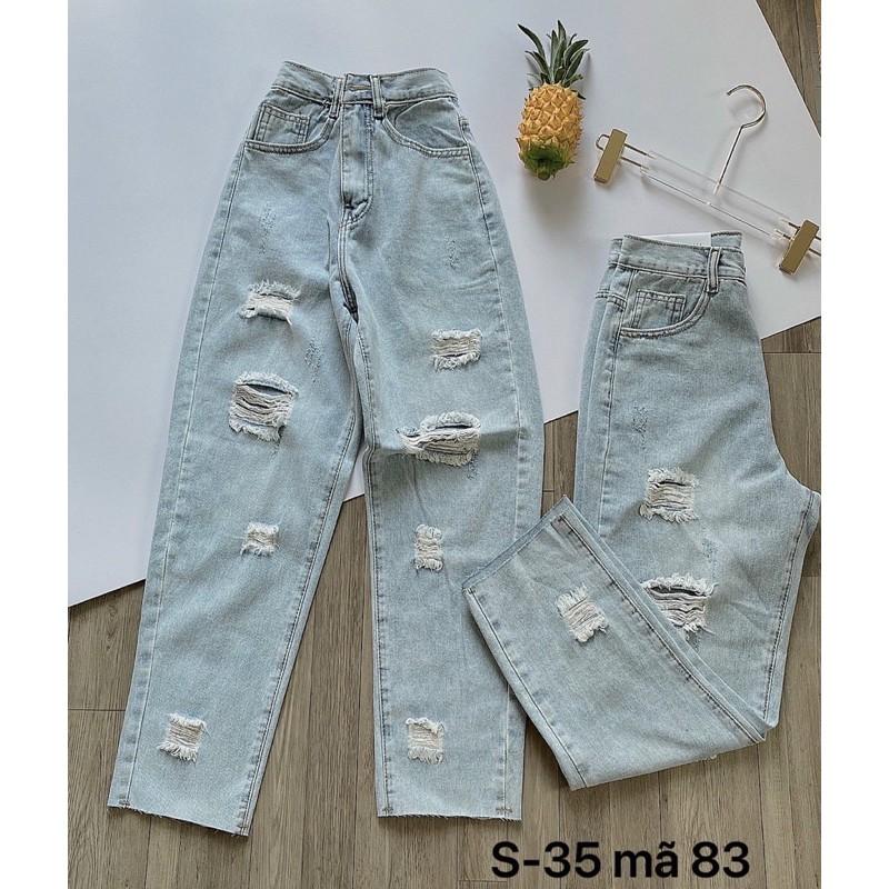 Quần baggy jean nữ ✈️FREESHIP✈️ quần baggy jean nữ rách size đại Bigsize từ 40kg đến 80kg Ms83 - thời trang jean 2KJean