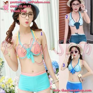 Đồ bơi bikini 2 mảnh DB015 phối màu thể thao + quần short