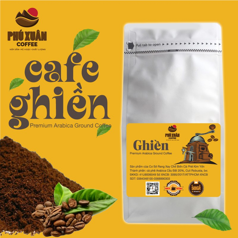 [QUÀ KHI MUA TỪ 1KG] 500gr Cà phê Ghiền PHUXUAN COFFEE - Cà phê bột rang xay pha phin