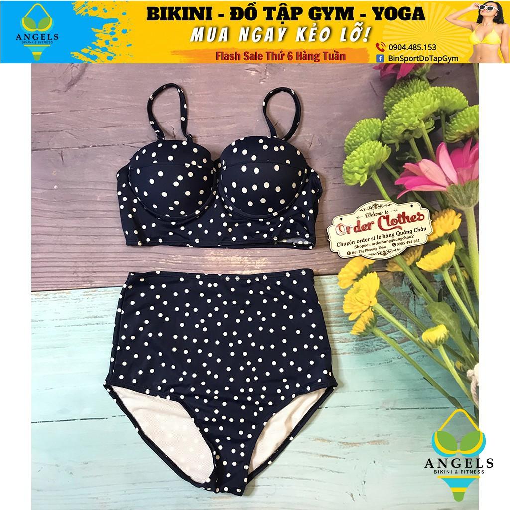 Bikini Hai Mảnh Chấm Bi Xanh Sexy Mặc Đi Biển  BHV008 [ Giá Sỉ ]