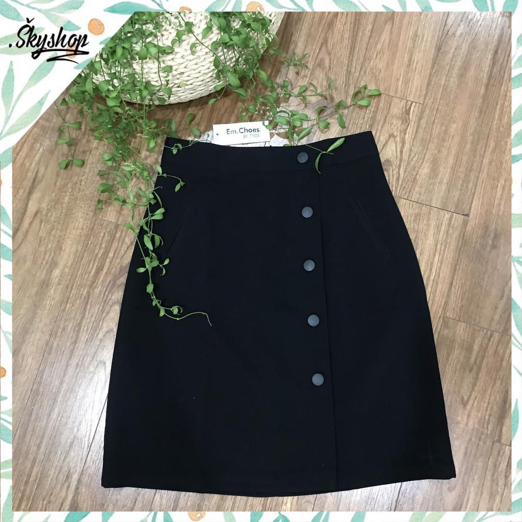 Chân váy chữ A, chân váy đen gắn cúc cài nữ tính - CV2 sky