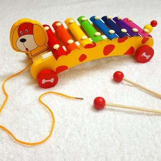 Đàn 8 âm kết hợp xe kéo – Đồ chơi gỗ thông minh
