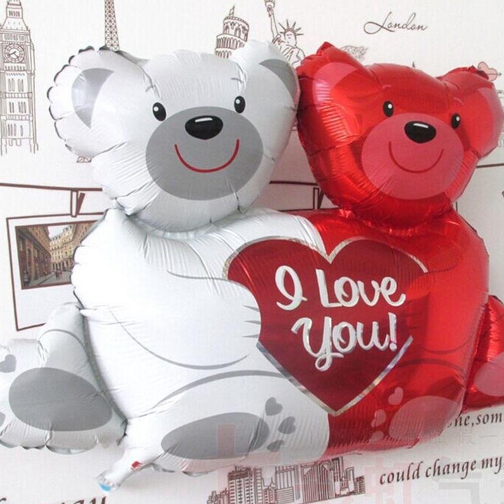Valentines Wedding Party Decor double bear hug Heart Foils Helium Balloons