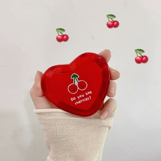 Gương trang điểm hình trái tim họa tiết cherry độc đáo dễ thương