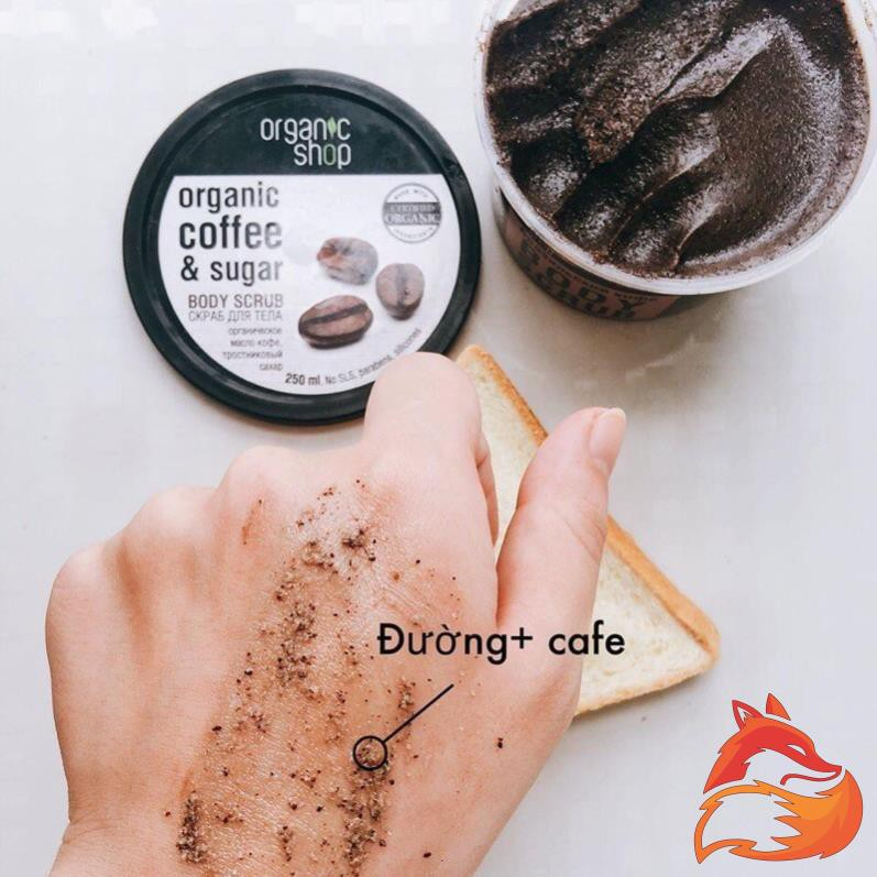 Kem tẩy da chết toàn thân Organic Shop organic coffee & sugar body scrub