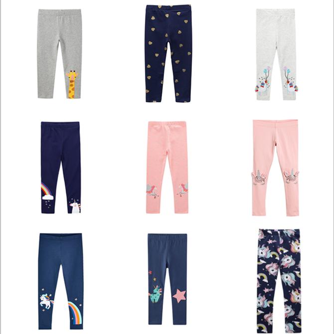 Quần legging chất liệu 100% cotton in họa tiết hoạt hình đáng yêu cho bé gái