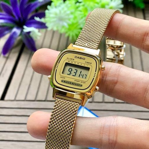 Đồng hồ Casio chính hãng nữ dây thép LA670WEMY-9DF- có tem chống hàng giả