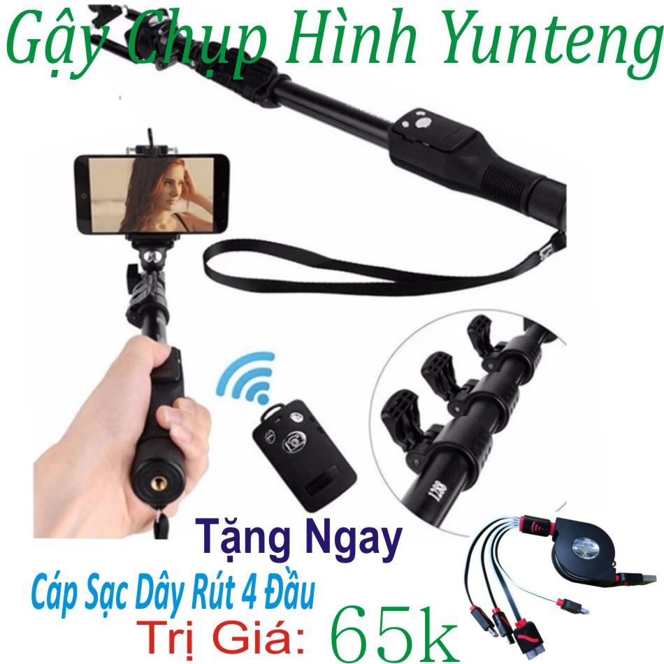 Gậy Chụp Hình Bluetooth Yunteng tặng chân đế và cáp dây sạc 4 đầu