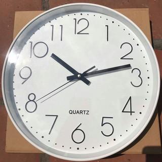 Đồng hồ treo tường quazt mặt tròn viền trắng kim trôi CAO CẤP
