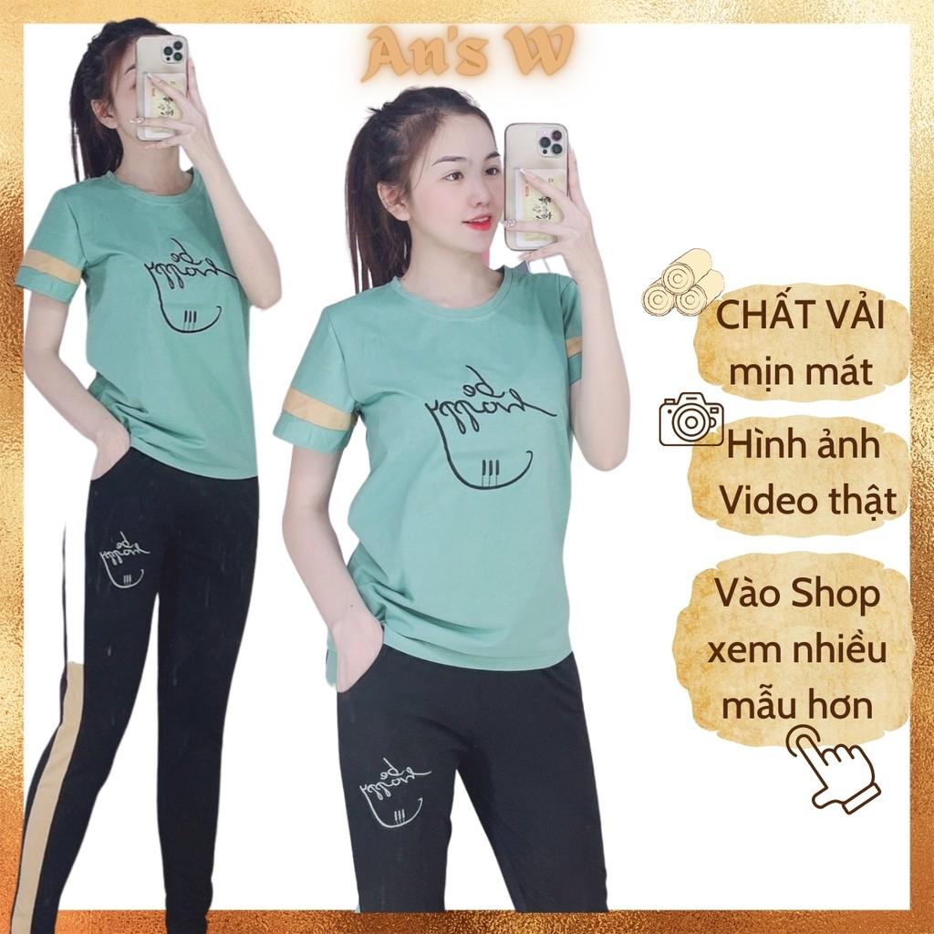 [Size 43-85kg]-Bộ mặc nhà thun thêu Be Happy, bộ quần dài giá tốt