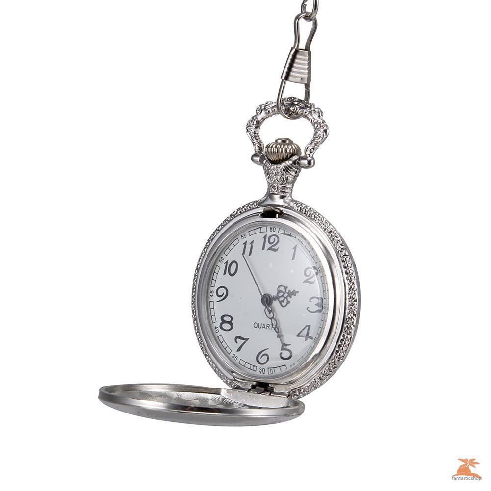 #Đồng hồ bỏ túi# 1pc Men Women Quartz Pocket Watch Silver Castle Pattern Carved Case with Chain