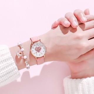 Đồng hồ thời trang nữ Mstianq MSTT dây da mềm, kim dạ quang tuyệt đẹp, họa tiết trai tim xinh xắn