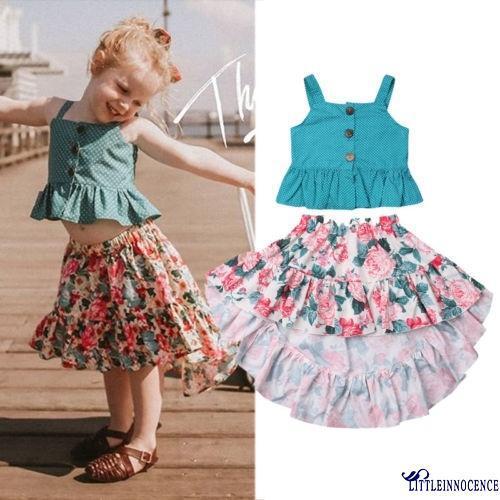 Set ái hai dây chấm bi và chân váy họa tiết hoa xinh xắn cho bé gái