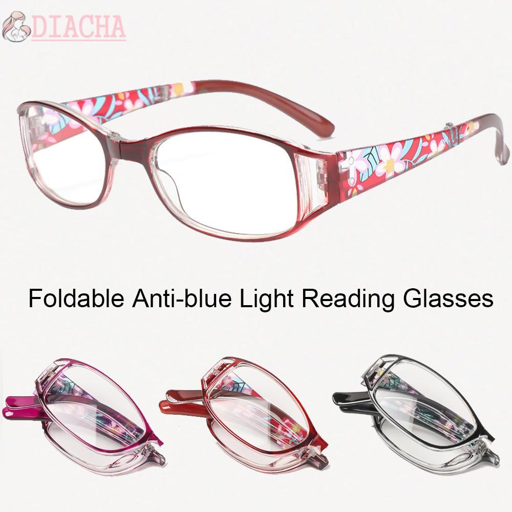 DIACHA Men Women Foldable Reading Eyeglasses Radiation Protection Computer Goggles Anti-blue Light Glasses Printing Vision Care Vintage Classic Fashion Folding...