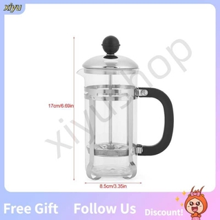 Xiyushop 350ml French Press Coffee Plunger Maker Stainless Steel Glass Cafetiere Tea Pot