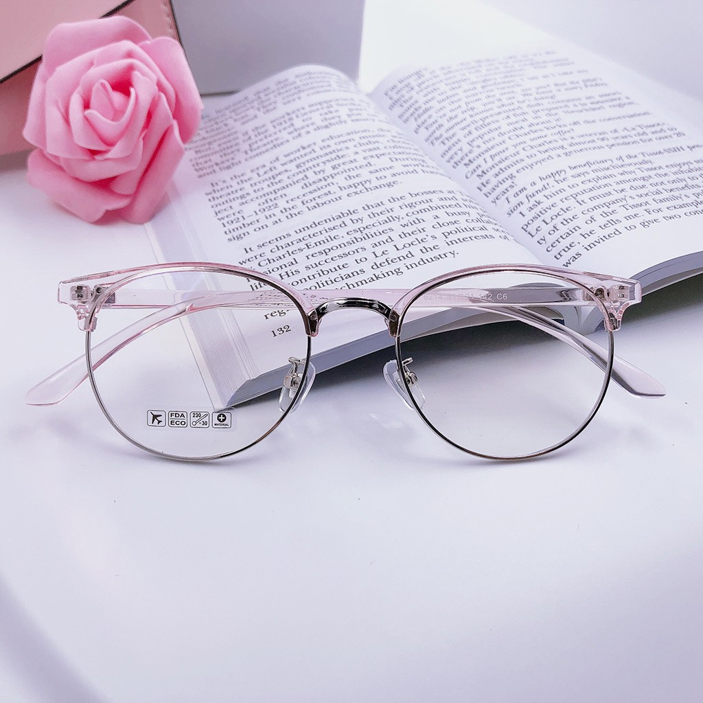 Mắt kính Nửa Gọng Nhựa Dẻo Hợp Kim Hàn Quốc - gọng kính cận nam nữ cao cấp MS 144