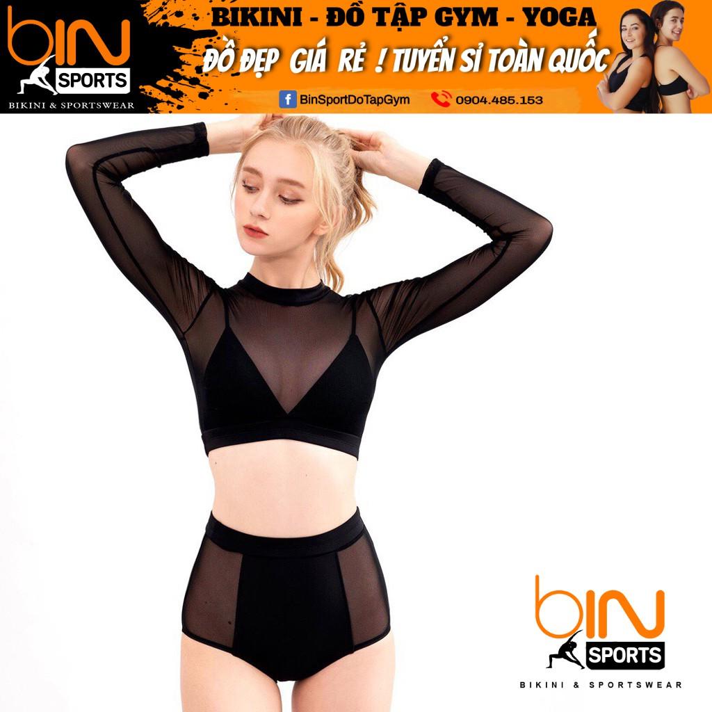 Bikini,Bộ Đồ Bơi Hai Mảnh Tay Dài Phối Lưới Sexy Mặc Đi Biển BHV016