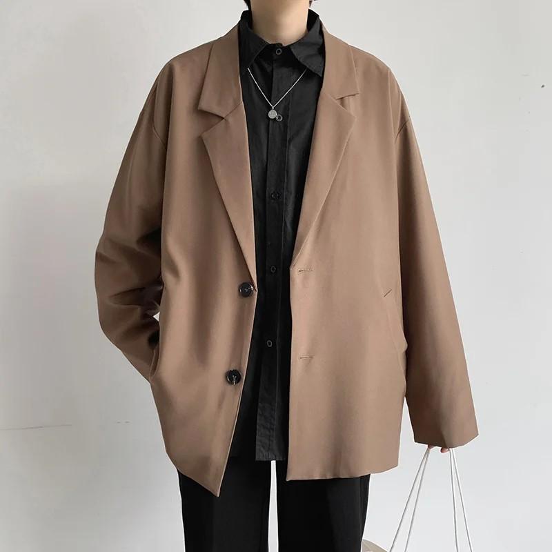 Áo blazer nam oversize , 2 lớp, màu nâu tây phong cách retro phong cách Hàn Quốc - BZ01