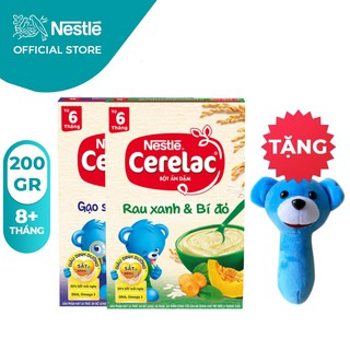 [Tặng Lục Lạc Gấu Cầm Tay] Combo 2 Hộp Bột Ăn Dặm Nestlé Cerelac Gạo Sữa Và Rau Xanh 200g Hộp thumbnail