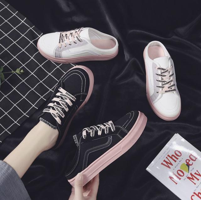 Giày sục nữ thể thao dây hồng cute