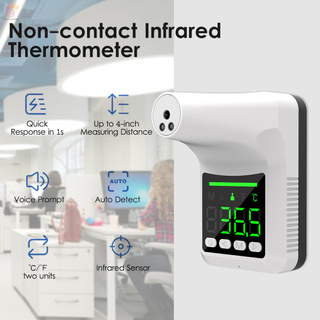 ET Non-contact Infrared Thermometer Wall-Mounted Automatic Body Temperature Scanner Touchless Forehead Thermometer Digital Temperature Reader Meter with Fever Alarm Voice Alert