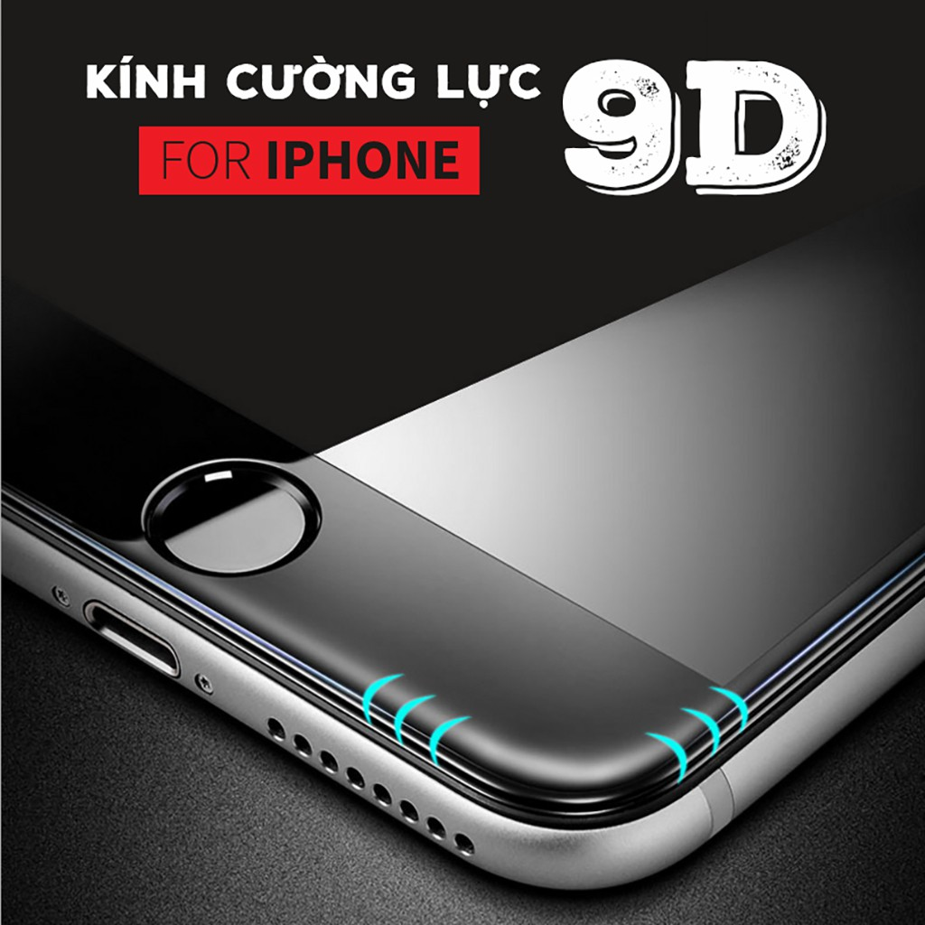[ELMTMS40 giảm 40k] Kính Cường Lực 9D Full Màn Cho Iphone 6/7/8/X - Siêu Bền - Có Video Thật - Chống Xước Va Đập