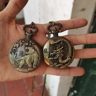 Đồng hồ quả quýt khắc hình rồng, hổ kim loại cực đẹp