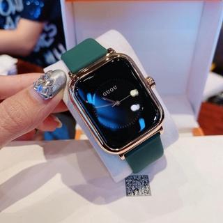Đồng hồ nữ guou unisex bản ip quai silicol mặt chữ nhật siêu hot 2021 bản dây aple donghonu (video ảnh thật)
