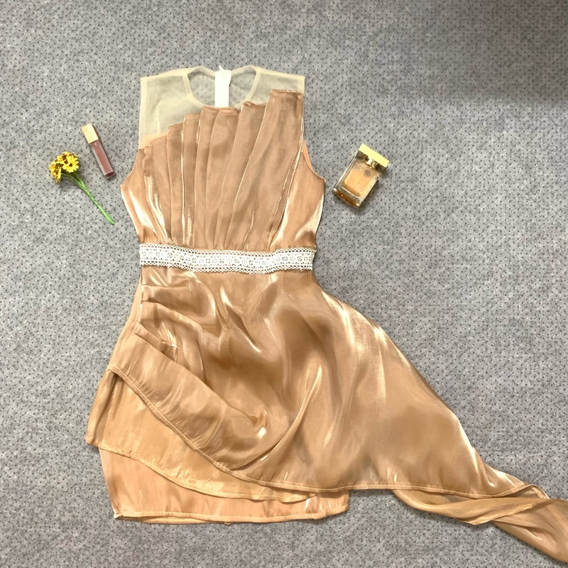 Mặc gì đẹp: Tung bay với Váy Xoè Ngắn Tay- Đầm Body Dự Tiệc Cúp Ngực (CÓ MÚT), Chất Liệu Voan Tơ Mềm Mịn, 2 Màu Ghi- Nude- KÈM ẢNH THẬT [198]