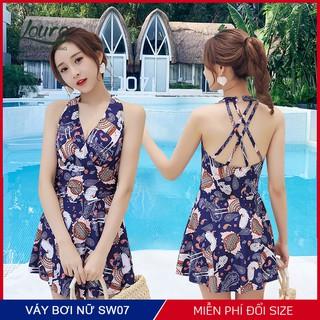 Áo bơi nữ 1 mảnh liền kín đáo Louro, kiểu bikini đi biển họa tiết hoa nhí, phong cách đồ bơi Hàn Quốc - SW07 thumbnail