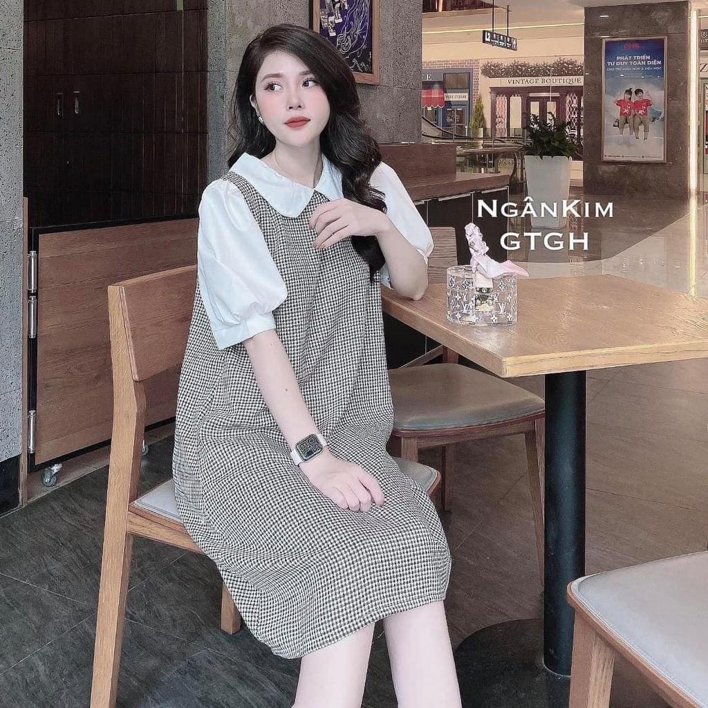 Mặc gì đẹp: Dễ chịu với Váy Bầu Đầm Bầu Mùa Hè Kẻ Zigzag Cổ Sen Tay Bồng Công Sở Dáng Suông HD2812 Honey Mommy