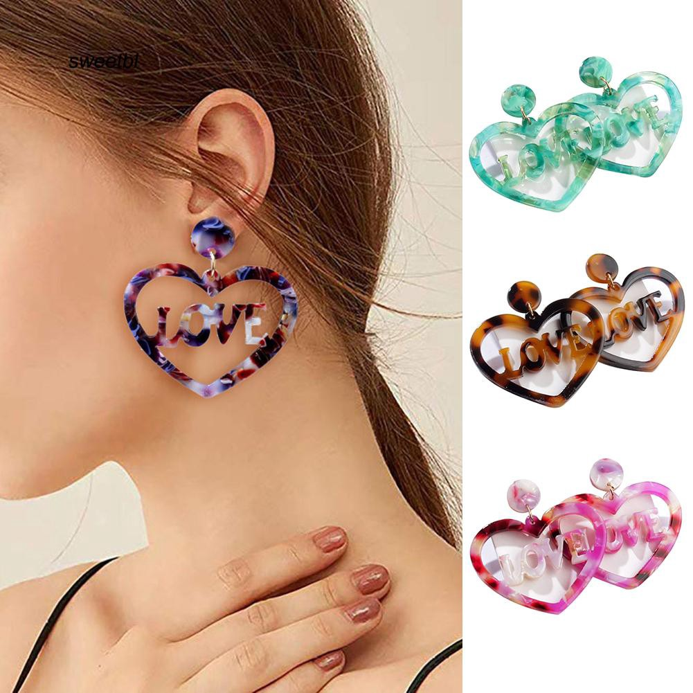 SWTB_Fashion Hollow Love Letter Heart Charm Statement Stud Earrings Lady Jewelry Gift