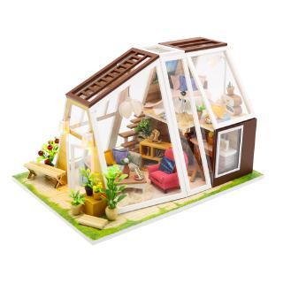 ngôi nhà trí tuệ bằng gỗ mô hình đồ chơi xinh xắn ,độ bền cao-đồ chơi lắp ráp mô hình biệt thự tặng kèm đèn pin